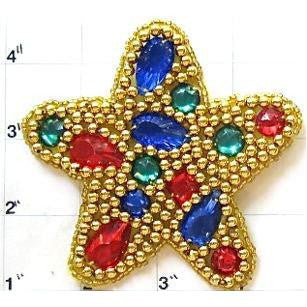 Star with Multi-Colored Stones and Gold Beads in 2 variants, 3.5""