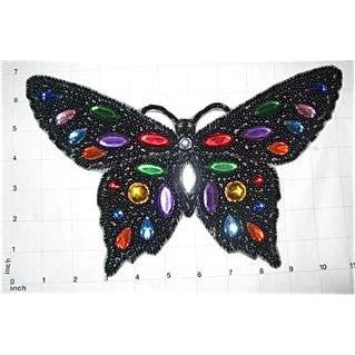 "Butterfly Black with Jewels 11"" x 6.75"""