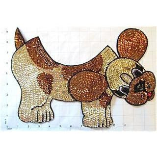 "Fido Dog Neckline Gold, Bronze and Black Sequin Beaded 13.5"" X 10.5"""