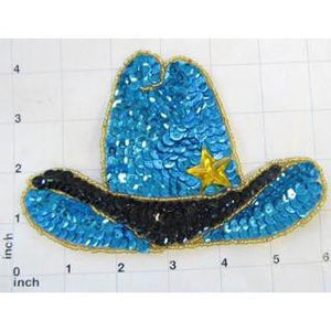 "Hat Cowboy Western with Turquoise and Black Sequins and Beads 4.25"" x 6.25"""