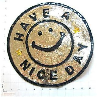 Have a Nice Day Word Applique with Black and Gold Sequins and Beads 11.5""
