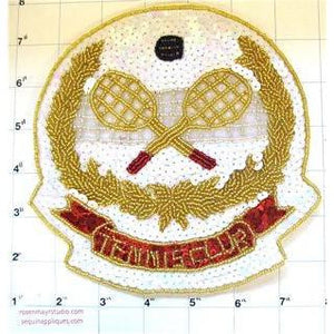"Tennis Club with White Red Gold Sequins and Beads  7"" X 7.5"""