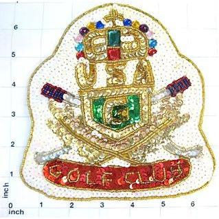 "Golf Club Patch with White Sequins and other Multi-Colors 6.5"" x 6"""