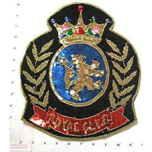 "Royal Club with Lion Patch Large with Multi-Colored Sequins and Beads 12"" x 10"""