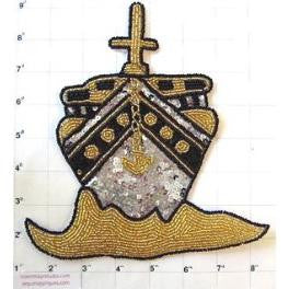 "Ship with Mast and Anchor Gold Black Silver Beads 8"" x 7"""