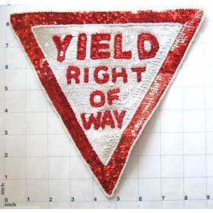 "Yield Right of Way Street Sign, Sequin Beaded 8.5"" x 9"""