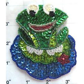 "Green Frog on a lily pad 4"" x 3.5"""
