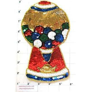 "Gumball Machine with Multi-Colored Sequins and Beads 8"" x 4.5"""