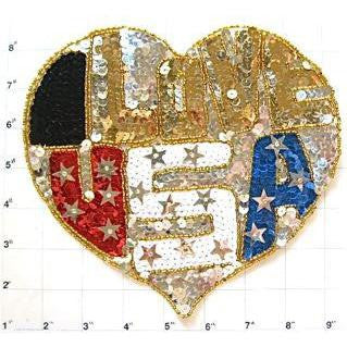 "Heart Shape with I Love U.S.A. Sequin Beaded 8"" x 7"""