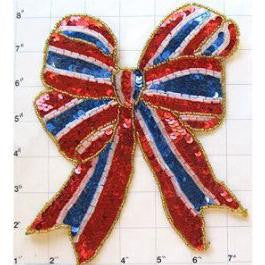 "Red White Blue Bow 7.5"" X 6.75"""