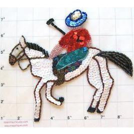 "Horse with Polo Player Multi-Colored Sequins and Beads 7.5"" x 7"""