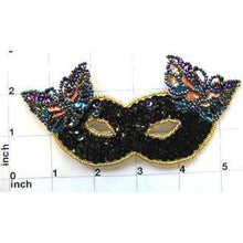 "Load image into Gallery viewer, Mask with Butterfly Black Sequins 5.5"" x 2.5"""