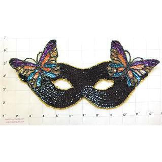 "Mask with Butterfly Black Sequins 10.75"" x 5.25"""