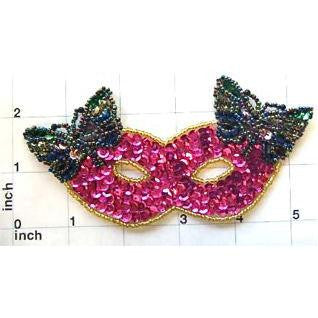 "Mask with Butterfly Fuchsia Sequins 5.5"" X 2.5"""