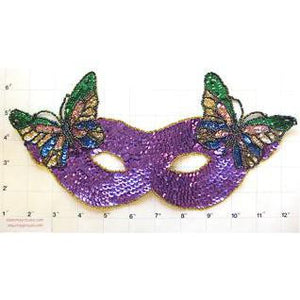 "Mask with Butterfly Purple Sequins 10.75"" x 5.25"