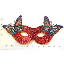 "Load image into Gallery viewer, Mask with Butterfly Red Sequins 11.25"" x 5.5"""