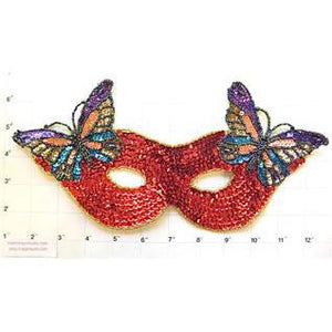 "Mask with Butterfly Red Sequins 11.25"" x 5.5"""