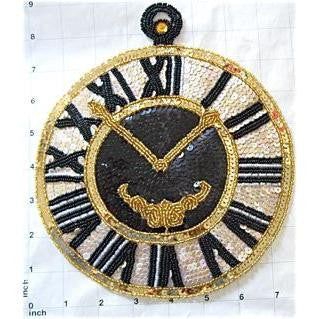 "Clock with Black Beads Cream Sequins 9"" x 7.5"""