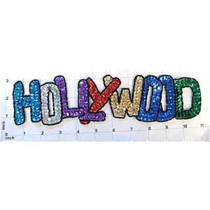 "Hollywood, Word With Multi-colored Sequins and Beads 2.5"" x 11"""