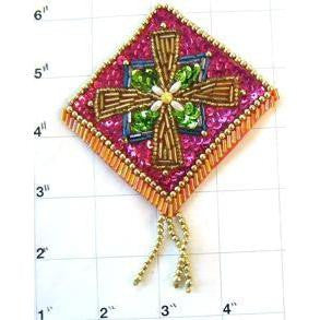 "Designer Motif with Fuchsia Green Gold Sequins and Beads 4.5"" x 3.5"""