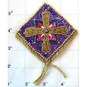 "Designer Motif Epaulet Purple with Gold Purple Fuchsia Green Sequins and Beads 4.5"" x 3.5"""