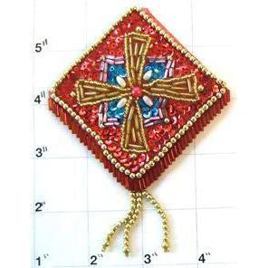 "Desginer Motif Epaulet Red with Turquoise Gold Sequins and Beads 4.5"" x 3.5"""
