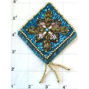 "Designer Motif Epauletwith Turquoise and Pink Sequins and Beads 4.5"" x 3.5"""
