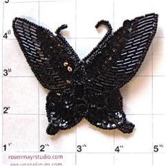 "Butterfly with Black Sequins and Beads 3"" x 4"""