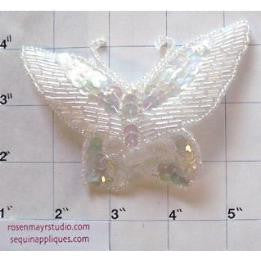 "Butterfly with Iridescent Sequins and Beads 4"" x 3"""