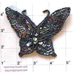"Butterfly with Moonlight Sequins 4"" x 3"""