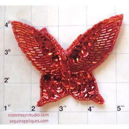 "Butterfly Red Beaded and Sequin 4"" x 3"""