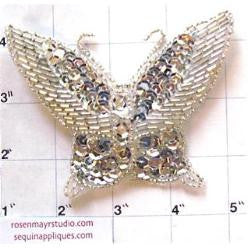"Butterfly Silver Sequins and Beads 4"" x 3"""