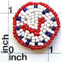 Load image into Gallery viewer, Clock with White Yellow Blue and Red Beads  1.75""