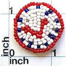 Clock with White Yellow Blue and Red Beads  1.75