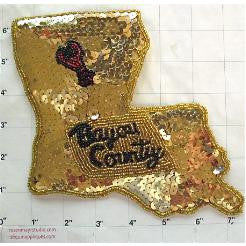"Louisiana State Shape Bayou Country Gold Black Sequins 7"" x 6.25"""