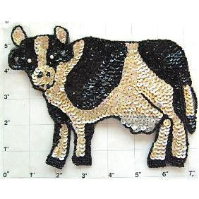 "Cow Black and Beige Sequin Beaded 7"" x 5"""