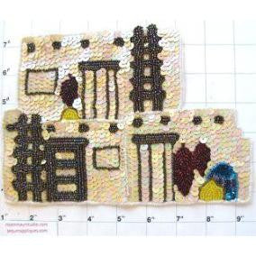 "Adobe House w/ 2 variants, white or beige 8.5"" x 6"""