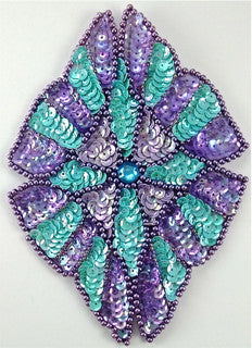 "Designe Motif with Southwestern Colored Sequins and Beads 5.75"" x 4.75"""