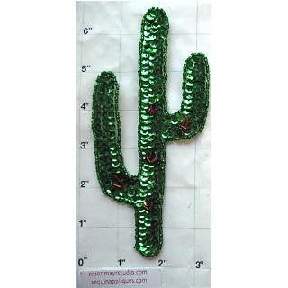 "Cactus with Green Red Sequins and Beads 6.5"" x 3"""
