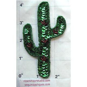 "Cactus with Green and Red Sequins and Beads 4.25"" x 2.5"""