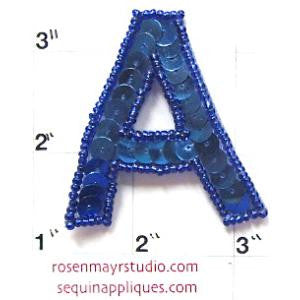 Letter A Royal Blue Sequins and Beads 2""