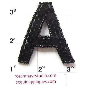 Letter A* Black Sequins and Beads 2""