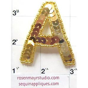 Letter A Gold Sequins and Beads 2""