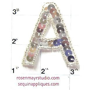 Letter A* Silver Sequins and Beads 2""