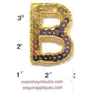 Letter B Gold Sequins and Beads 2""