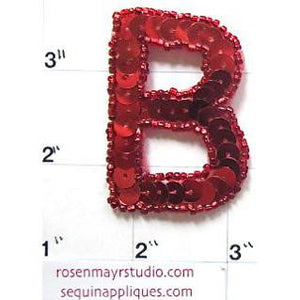 Letter B Red Sequins and Beads 2""