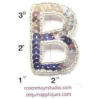 Letter B Silver Sequins and Beads 2""