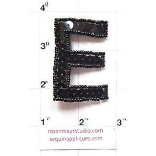 Letter E  Black Sequins and Beads 2""
