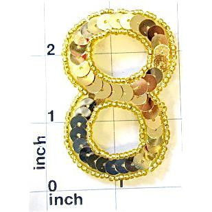 Number 8  Gold Sequins  2.5""