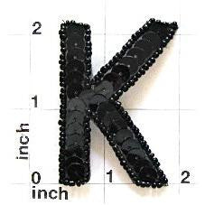 Letter K with Black Sequins and Beads 2""